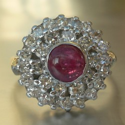 Cluster Ring with Central Ruby Cabochon in 18ct White Gold