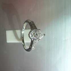 Exceptional Pear Shaped Diamond Set in Platinum
