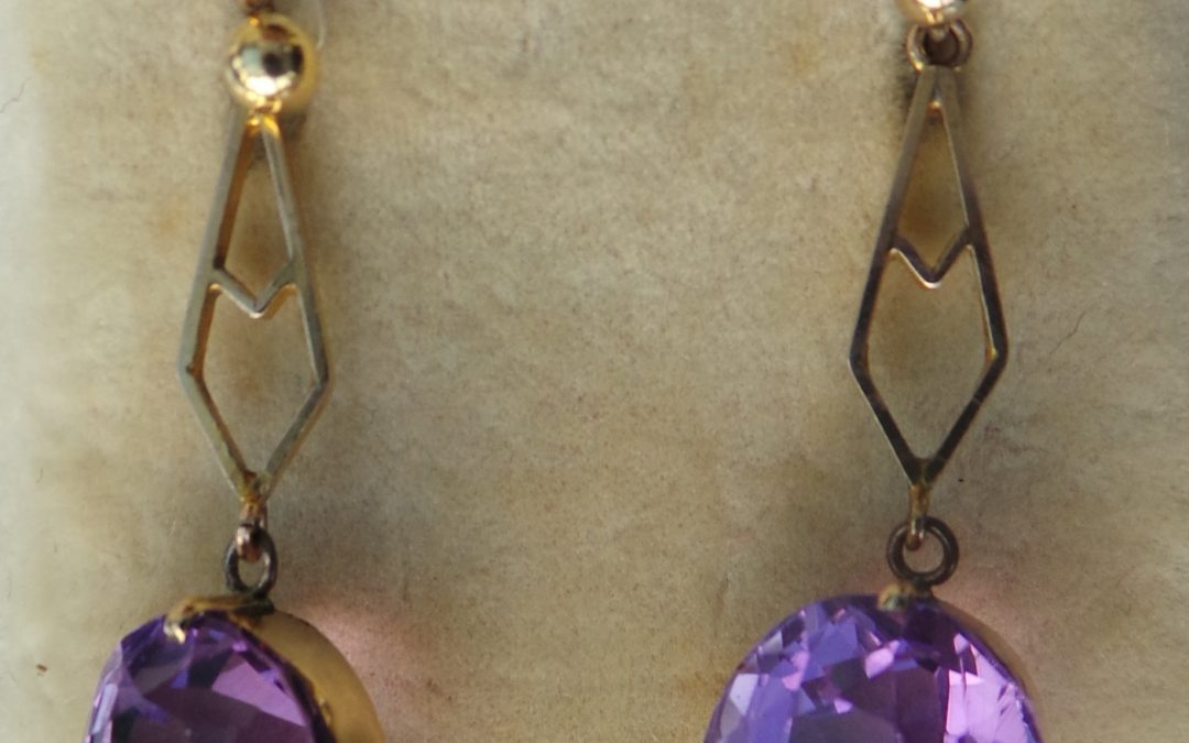 Amethyst and 9 carat gold drop earrings
