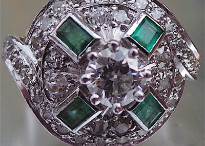Fabulous Art Deco Diamond and Emerald Ring