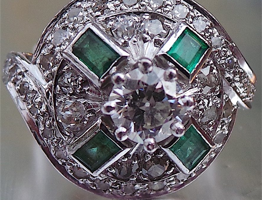 Fabulous Art Deco Diamond and Emerald Ring