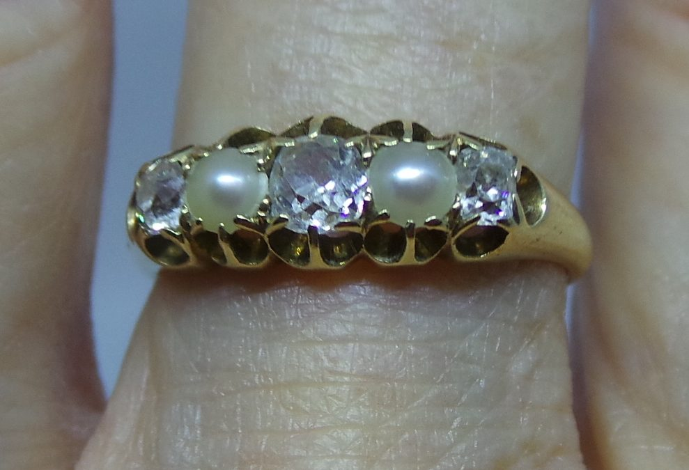 Pretty Victorian Diamond and Pearl Engagement ring