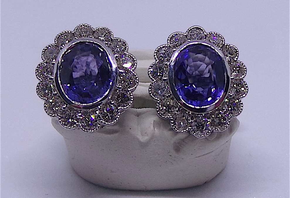 Beautiful Sapphire and diamond earrings in 18 carat white gold