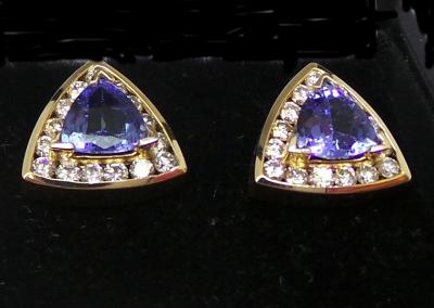 Sapphire and Diamond Triangular earrings
