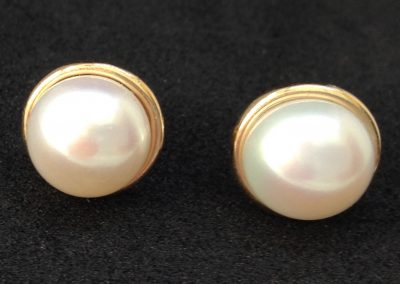Very popular Mabe Pearl Earrings in 14 carat gold
