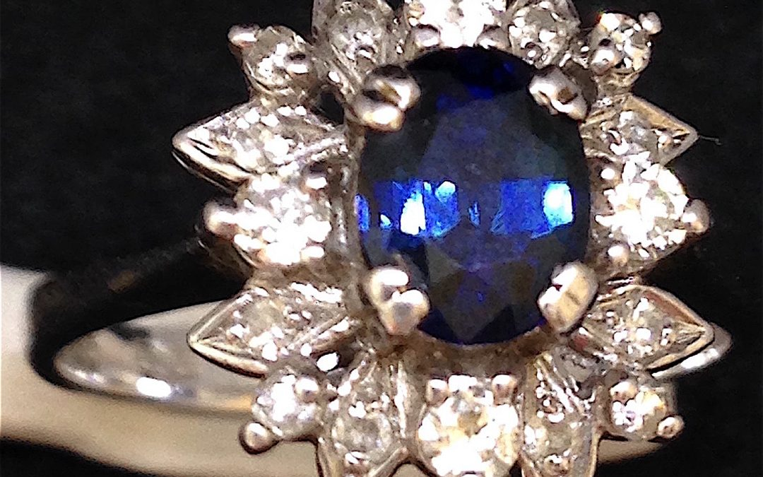 Beautiful Sapphire and Diamond Ring in 18 carat white gold