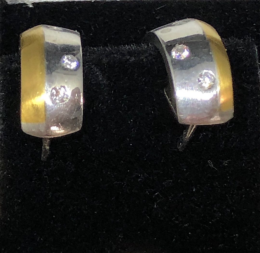 Pretty hoop earrings in 18 carat gold and platinum