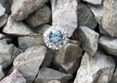 Lovely Aquamarine and Diamond cluster ring