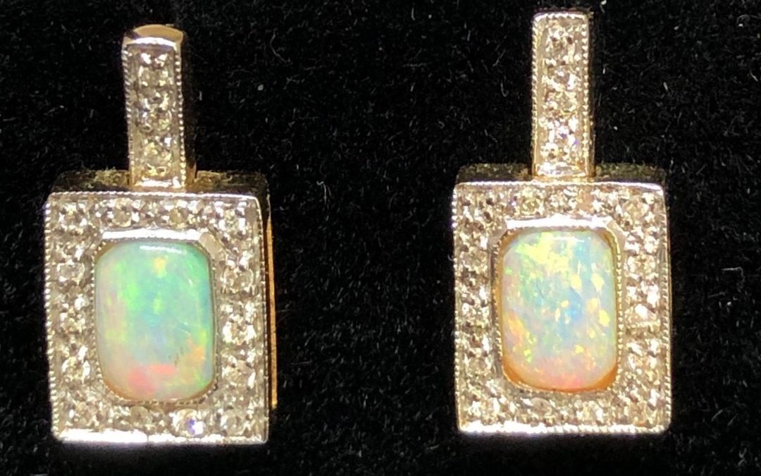 Opal Earrings with diamonds in 18 carat gold