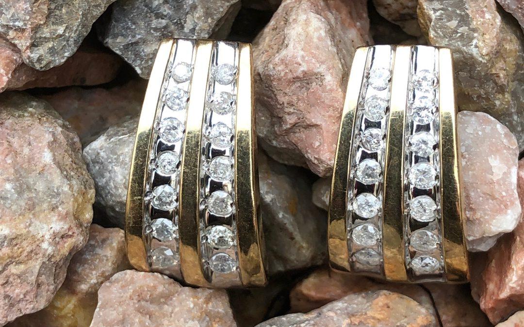 Flattering Diamond Earrings in 10 carat gold
