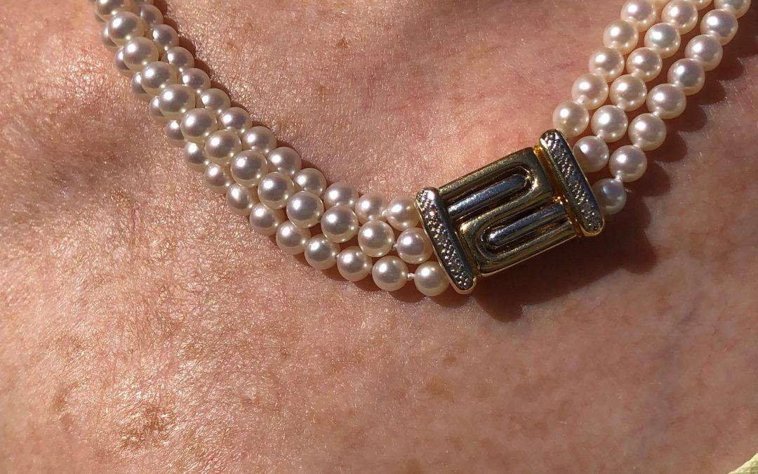 Triple row of Pearls with 18 carat gold and diamond clasp