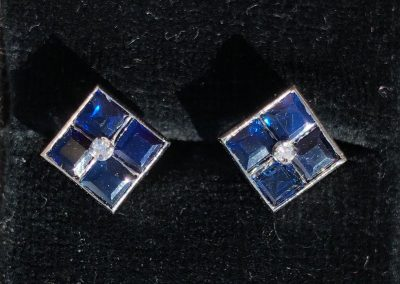 Pretty Pair of Square cut Sapphire and Diamond Earrings