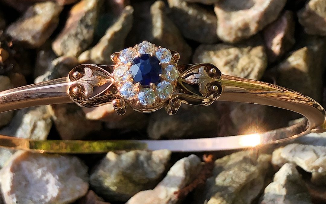 Victorian Sapphire abd Diamond Bangle in 14 carat gold