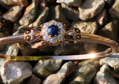 Victorian Sapphire abd Diamond Bangle in 14 carat gold