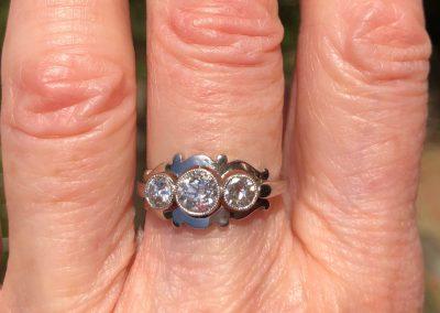 Unusually lovely Art Nouveau Diamond Trinity ring in Platinum