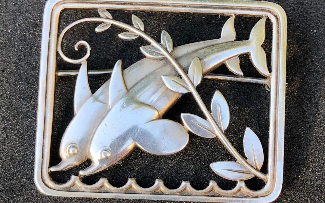 Georg Jensen double dolphin brooch in 925 silver