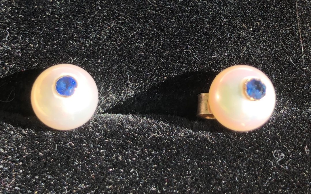 Delightful pearl and sapphire earrings in 9 carat gold