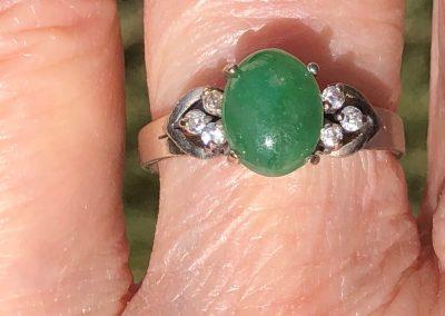 Pretty Jadeite and Diamond Ring in 15 carat white gold