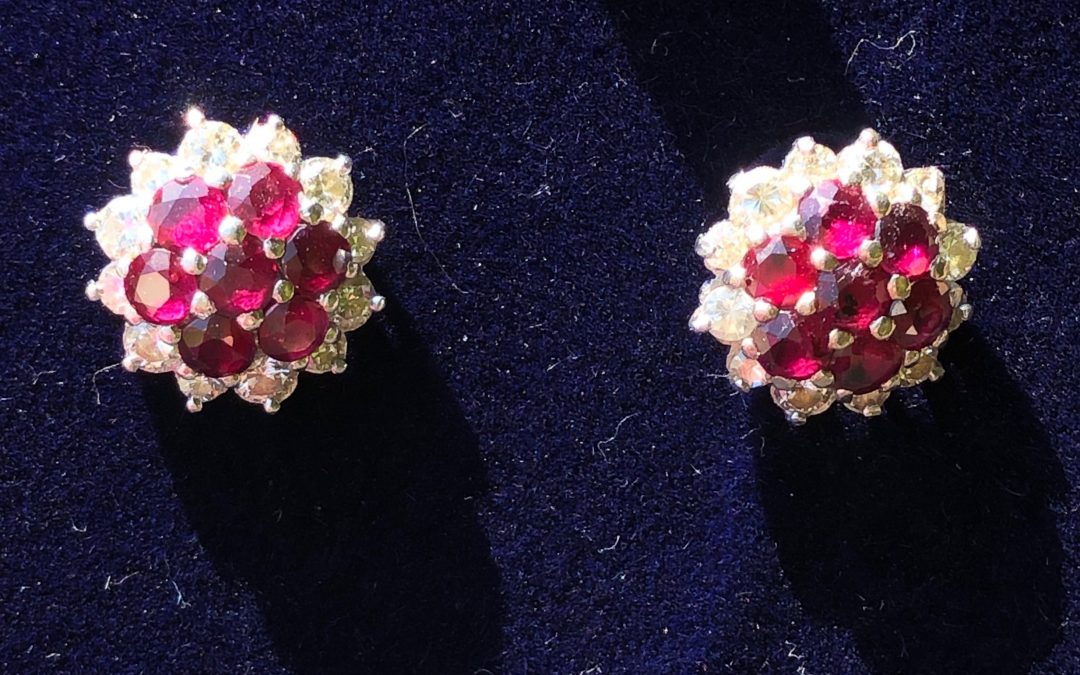 Wonderful Ruby and Diamond Earrings in 18 carat white gold