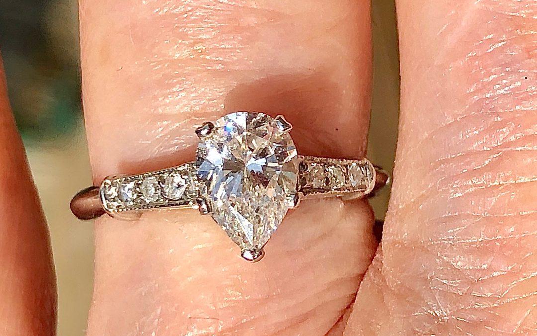 Fantastic Pear shaped Diamond Solitaire in Platinum